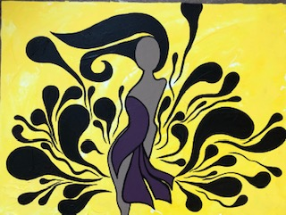 A painting of a brown-skinned woman in a purple dress on a yellow blackground. Black lines swirl around her to emphasize she is dancing. Her black hair is also swings around her head.