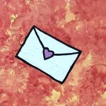 a white envelope with a pink heart to seal it on an orange-yellow background