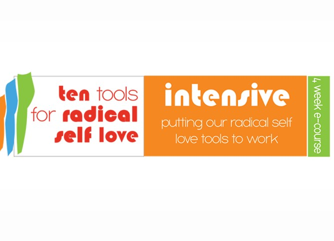 A rectangular logo for the Ten Tools for Radical Self-Love E-course by Sonya Renee Taylor.